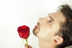 Junge Männer riechen die rote Rose, die auf Weiß getrennt wird Lizenzfreie Stockfotografie