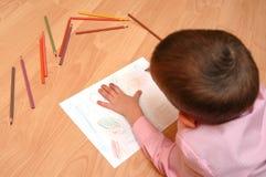 Junge malt die Abbildung Stockfotos