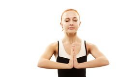 Junge meditierende Frau Lizenzfreies Stockbild