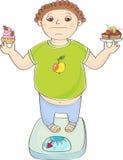 Junge mit überladener Stellung auf den Skalen mit Kuchen in den Händen lizenzfreie abbildung