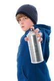 Junge mit Aerosoldose Lizenzfreies Stockbild