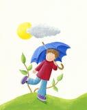 Junge mit blauem Regenschirm Stockbilder