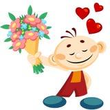 Junge mit Blumen stock abbildung