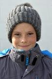 Junge mit bobble Hut Lizenzfreies Stockfoto
