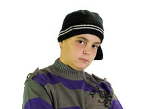 Junge mit dem Hut getrennt auf weißem Hintergrund stockfotos