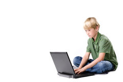 Junge mit dem Notizbuch Stockbilder