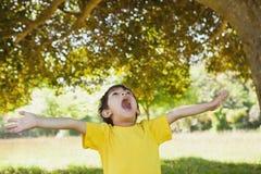 Junge mit den Armen streckte oben schauen im Park aus Stockbild