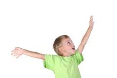 Junge mit der Hand zum Erfolg stockfotografie