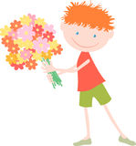 Junge mit einem Blumenstrauß Stockfoto