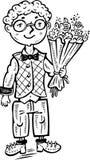 Junge mit einem Blumenstrauß der Blumen. Lizenzfreies Stockfoto