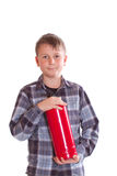 Junge mit einem Feuerlöscher Lizenzfreies Stockfoto