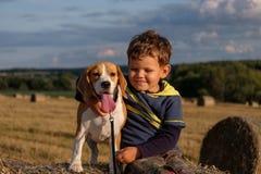 Junge mit einem Hundspürhund auf einem Heuschober Lizenzfreie Stockfotos