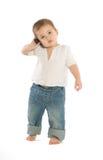 Junge mit einem Mobiltelefon Lizenzfreies Stockbild