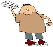 Junge mit einem Papierflugzeug Stockbilder