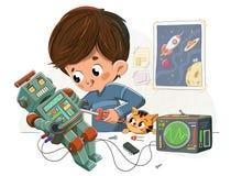 Junge mit einem Roboter und seinem Haustier lizenzfreie abbildung