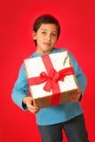 Junge mit einem Weihnachtsgeschenk stockfotografie