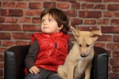 Junge mit einem Welpen lizenzfreie stockfotos