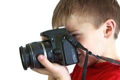 Junge mit einer Kameranahaufnahme Stockfotos