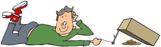 Junge mit einer Kastenfalle Lizenzfreie Stockbilder
