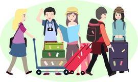 Junge mit einer Reisetasche Auch im corel abgehobenen Betrag Stockfotos
