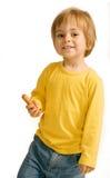 Junge mit einer Wurst Stockfotografie