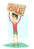 Junge mit Fahnenverkauf lizenzfreie abbildung