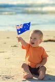 Junge mit Flagge Stockfotos
