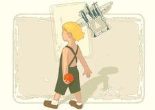 Junge mit Flugzeug Lizenzfreie Stockfotos