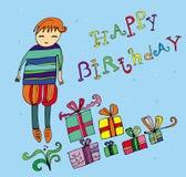 Junge mit Geburtstaggeschenk lizenzfreie abbildung