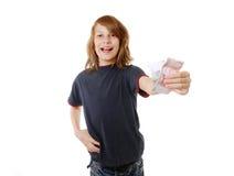 Junge mit Geld Stockbild