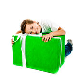 Junge mit Geschenk lizenzfreies stockfoto