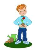 Junge mit gewachsener Tulpe Stockfoto