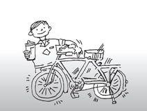Junge mit glänzendem Fahrrad   Stockbild