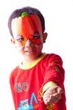 Junge mit Halloween-Schablone Stockbild