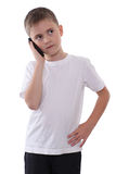 Junge mit Handy Lizenzfreies Stockbild