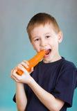 Junge mit Karotte Lizenzfreie Stockfotos