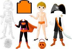 Junge mit Kostümen für Halloween-Party vektor abbildung