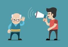 Junge mit Megaphon und schwerhörigem altem Mann Konzept für Verlust der Hörfähigkeit Lizenzfreies Stockbild