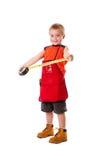 Junge mit messendem Band Stockfotografie