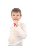 Junge mit mic Stockbild