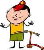 Junge mit Rollerkarikaturillustration Stockfoto
