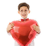Junge mit rotem Ballon Lizenzfreies Stockbild