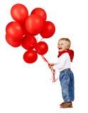 Junge mit roten Ballons. Stockbilder