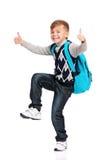 Junge mit Rucksack Stockfoto