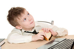Junge mit Sandwich Stockfotografie