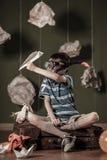 Junge mit Schnorchelmaske Stockfotos