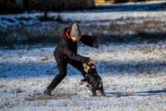 Junge mit seinem Minihund Stockfoto