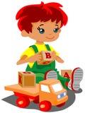 Junge mit Spielwaren Stockfoto