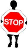 Junge mit Stoppschild Lizenzfreies Stockbild
