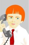 Junge mit Telefon Stockbilder